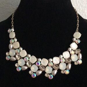 INC Gold-Tone Iridescent Stone/Pearl Necklace V258